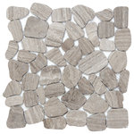 """Emser Tile - Cultura Gray 12""""x12"""" Pebbles Mosaic Tile, Set of 10 - Cultura is comprised of first-rate natural stone, fabricated into an intriguing pebble configuration. An array of solid colors and blends are available in a subtle honed finish on a 12x12 interlocking mesh. Cultura may be installed on shower walls or floors."""