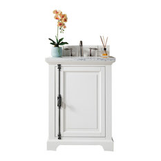 "Providence 26"" Cottage White Single Vanity w/ 2cm Santa Cecilia Granite Top"