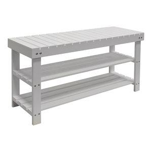 Slats Solid Wood 3-Shelf 12-Pair Shoe Rack, White