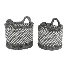 Large Round Checkered Black Mesh and White Cotton Rope Storage Baskets, 2-Piece
