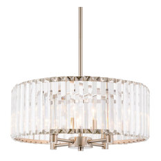 "Kira Home 16"" Delilah Crystal Chandelier, Beveled Glass Panels, Brushed Nickel"