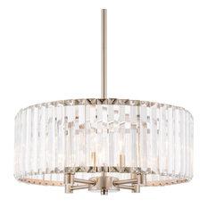 """Kira Home 16"""" Delilah Crystal Chandelier, Beveled Glass Panels, Brushed Nickel"""