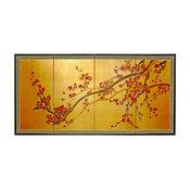 "Oriental Furniture Plum Tree on Gold Leaf Room Divider, 18"""