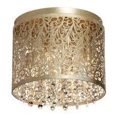 Siena 4-Light Crystal Flush Mount With Floral Pattern, Palladium Gold