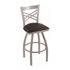 """820 Catalina 30"""" Bar Stool, Anodized Nickel Finish, Allante Espresso Seat"""