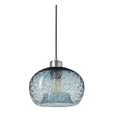 Mini Pendant Light Handblown, Brushed Nickel Finish, Shade: Light Blue