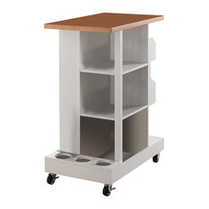 Willa Wood-Top Kitchen Island Cart, White and Natural