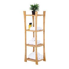 Bamboo 4-Tier Towel Shelf