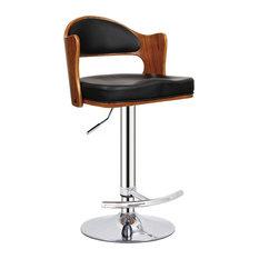 Swivel Adjustable Padded Seat And Backrest Barstool