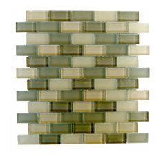 "Miseno Amadahy Glass Wall Tile Sheet, Chip Size: 1""x2"", Sea Green"