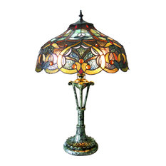 """ALESSANDRA, Tiffany-style 2 Light Victorian Table Lamp, 17"""" Shade"""