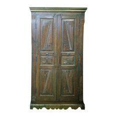 Mogul Interior - Consigned Teak Britsh Colonial Cabinet Bedroom Almira Furniture - Armoires And Wardrobes