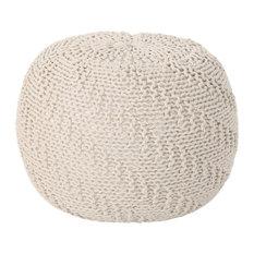 GDF Studio Austin Knitted Cotton Pouf, Beige
