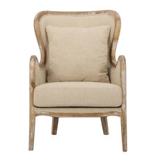 Beige Fabric Wing Chair