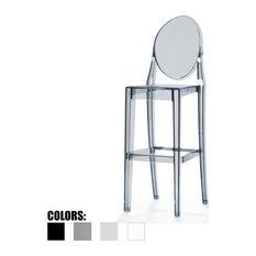 Designer Molded Plastic Bar Height Stools, Smoke, Single Chair