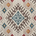 """Well Woven - Moroccan Ikat Area Rug Multicolor, 3'11"""" X 5'3"""" - This rug features chunky, textured yarn and a contemporary ikat design. Warm, neutral tones and subdued accent colors of red, blue, and yellow complete a design that is soft, stylish, and affordable. The stain and fade resistant materials are easy to clean, meaning less hassle and a rug that looks better for longer. The jute backing is wood floor safe and the edges are serged for increased durability, so it can be placed in any room."""