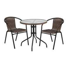 Flash Furniture  Table And 2 Stack Chair Set, Black With Brown