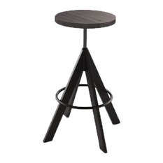 Industrial Woodseat Backless Swivel Stool