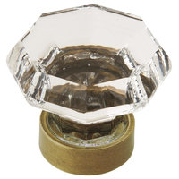 "Traditional Classics 1-5/16"" 33 mm Diameter Clear/Gilded Bronze Cabinet Knob"