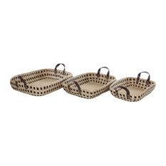 "Rectangular Seagrass Storage Baskets with Handles, 23"", 21"", 19"", Set of 3"