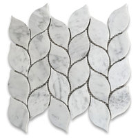 Carrara White Marble Leaf Shape Medi Mosaic Tile Honed