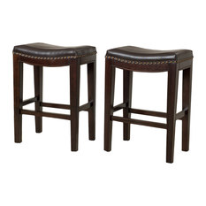 GDFStudio   Jaeden Leather Counter Stools  Set of 2  Brown   Bar Stools AndFaux Leather Bar Stools and Counter Stools   Houzz. Fabric Covered Counter Height Chairs. Home Design Ideas