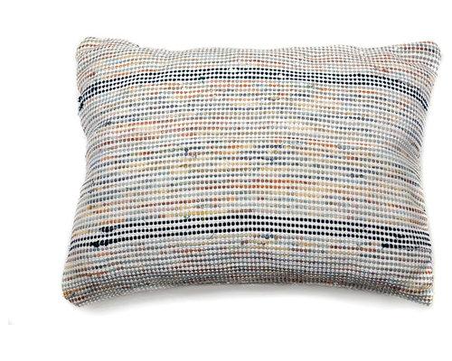 re:loom - re:loom Handwoven Medium Pillow, Blue/Orange/Yellow - Decorative Pillows