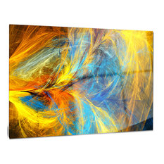"""""""Gold and Blue Psychedelic Pattern"""" Abstract Glossy Metal Wall Art, 40""""x30"""""""