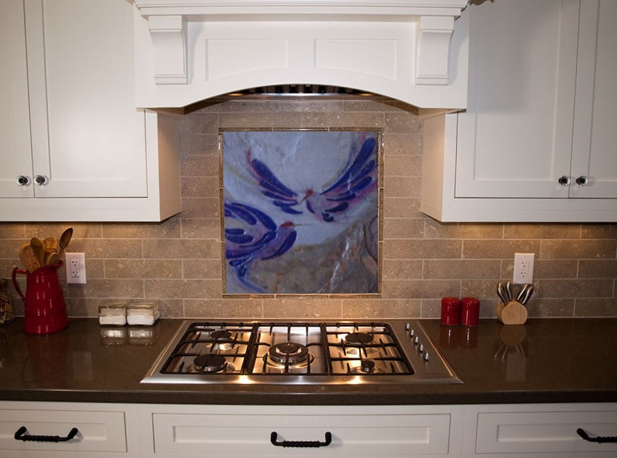 Kitchen Backsplash Tile - Bluebirds FLY!