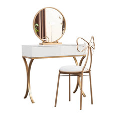 White Wood Makeup Dressing Table Set, Vanity Set with Mirror, 2 Drawers, Small