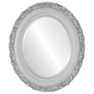 "Venice Framed Oval Mirror in Linen White, 17""x21"""