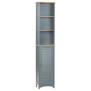 Modern Storage Cabinet, Wood With 1-Door and 3 Open Shelves, Simple Design