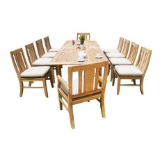 "Teak Deals - 11 Piece Teak Dining Set, 117"" Double Extn Rectangle Table and 10 Oslo Chairs - Outdoor Dining Sets"