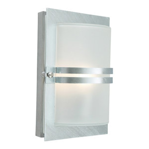 Basel Galvanised Wall Lantern, Frosted