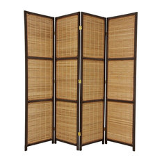 6' Tall Woven Accent Room Divider, 4 Panel, Dark Brown