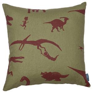 "PaperBoy Interiors ""D'ya-Think-E-Saurus"" Cushion, Green and Red"