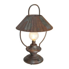 17 Inch Rustic Metal LED Lantern Battery Operated Aged Lamp Indoor Accent Light