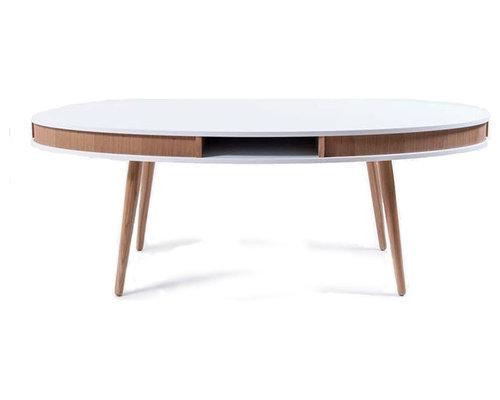 Hugo Soffbord Oval, Vit/Ek - Sofaborde