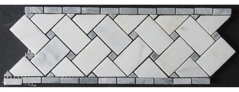 Basketweave White Marble w. Grey Dots - Tile