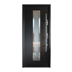 Stainless Steel Modern Entry Door, Gray Finish, Left Hand Inswing