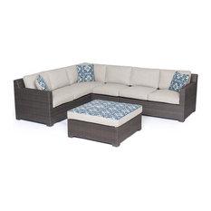Metropolitan 5-Piece Lounge Set, Gray Wicker, Silver Lining