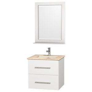"""Centra 24"""" Vanity, Square Porcelain Undermount Sink, Matte White, Ivory Marble"""