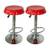 Amerihome Kitchen Game Room 2 Piece Soda Cap Swivel Seats Bar Stool Set