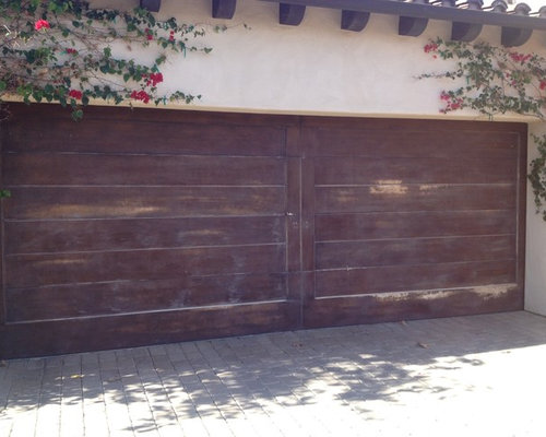 Garage doors facelift wood grain faux finish for Faux wood finish garage door