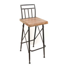 Farmhouse Metal And Wooden Barstool