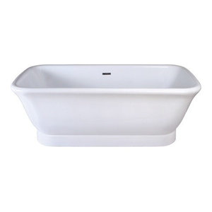 "71"" Contemporary Double Ended Acrylic Bath Tub With Drain"