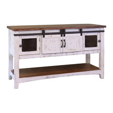 Greenview White Solid Pine Sofa Table, 2 Sliding Doors