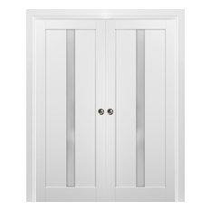 French Double Pocket Doors 72 x 84 & Frames | Quadro 4112 White Silk