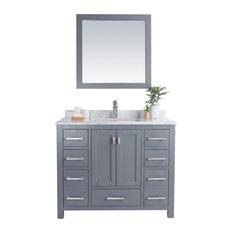 """Wilson Collection, Grey, 42"""", White Carrara Marble"""
