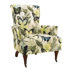 Hardwood Metal Casters Chair, Dark Walnut